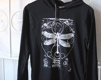 handprinted light hoody dragonfly occult