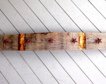 Oak Wine Barrel Stave Coat Rack with Star Knobs, Hat Rack, Towel Rack, Jewelry Rack