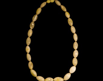 "Amber Necklace ""White Plums"""