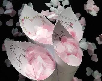 Personalized Wedding confetti cones