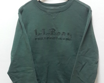 LL BEAN Big Logo Spellout Dark Green Sweatshirt Size Large