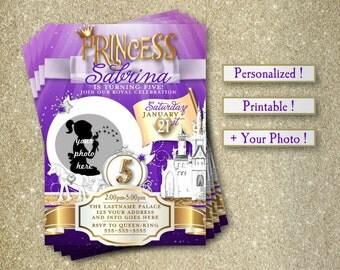 Princess Birthday Party Invitations, Personalized, Purple, Birthday, Invite, Castle, Princess, Your Photo, Digital Download, Printable, 5x7