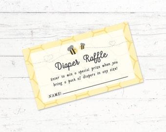 Bumblebee Baby Shower Diaper Raffle Ticket, Printable Diaper Raffle Ticket, Instant Download