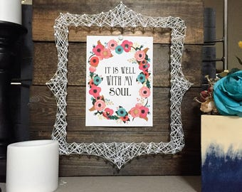 5x7 picture frame, nail and string picture frame