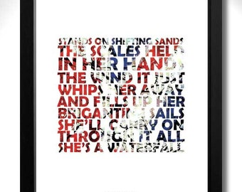 THE STONE ROSES - Waterfall Limited Edition Unframed A4 Art Print with Lyrics
