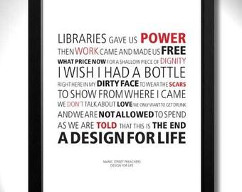 MANIC STREET PREACHERS - Design For Life Limited Edition Unframed A4 Art Print with lyrics