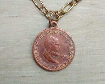 Vintage necklace Borden Dairy Coin Elsie the Cow 1957 Hundred years Promo Coin Antique gold chain