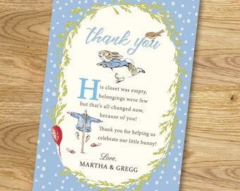Peter Rabbit Baby Shower Thank You Card // Digital File Only