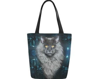 Maine Coon Cat Canvas Tote Bag Custom Bag