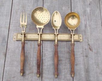 Vintage French Kitchen Brass  Utensils/Hanging Rack
