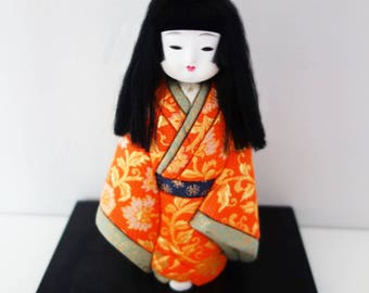 Vintage Japanese Girl  Ichimatsu Doll in Beautiful  Kimono with Base Collectible Doll Handpainted Face