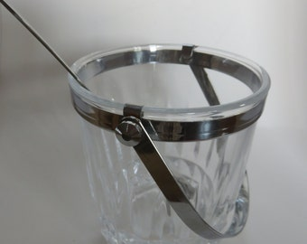 Crystal Glass Bucket of Arches Carved - Silver Metal Handle - Vintage - 70's