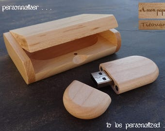 Personalized wood USB flash drive case, wooden USB drive with case, men custom gift