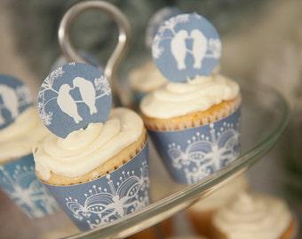 One dozen (12) Love Birds Cupcake Toppers, Wedding Cupcake Toppers, Bridal Shower Cupcake Toppers, Anniversary Cupcake Toppers, Love Toppers