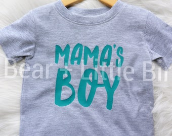 Kids Mama's Boy Infant or Toddler T-shirt top teal and grey or Custom Colors available