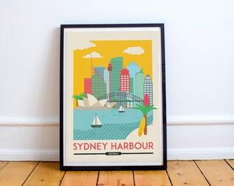 Sydney Harbour Print - Sydney Skyline - Sydney Wall Art Print - Australia Print   Travel Poster