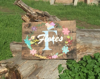 Custom Floral Name sign