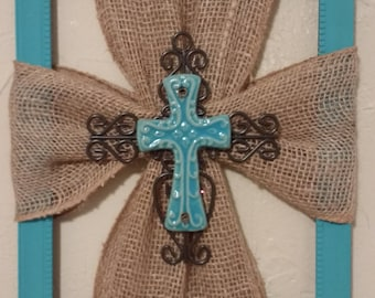 Burlap, Ceramic Cross Picture Frame, Home Decor, Wall Hanging, Religious Decor