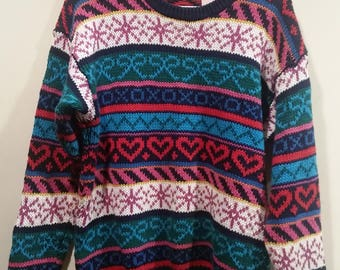 END of WINTER SALE: Colorful ski print sweater