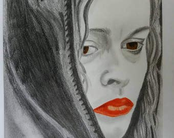 24 x 33 cm portrait Helena Carter originally performed original drawing pencil and watercolor colored pencils on paper