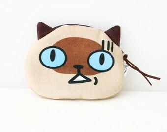 Blue Eye Cat Coin Purse-Wallet,Cat pouch, Change purse, Zip pouch, Cat Lover, Zip Purse, Make up Bag