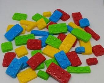 Fondant lego bricks, set of 50 various colours
