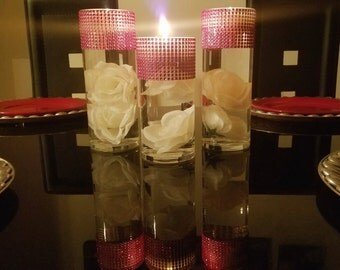 """Set of 3 (9"""", 7.5"""", 9"""") Cylinder Vases, Silver and Hot Pink Rhinestone Vases, Wedding Centerpiece, Candle Holders"""