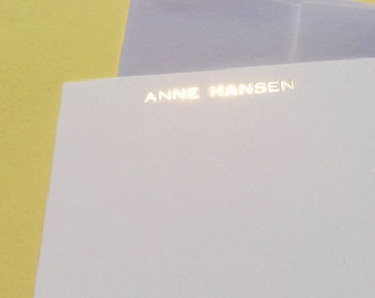 LETTERPRESS STATIONARY NOTECARDS: Letterpress Embossed Gold Foil Stationary Set With Envelopes Custom Stationary, Wedding Thank You