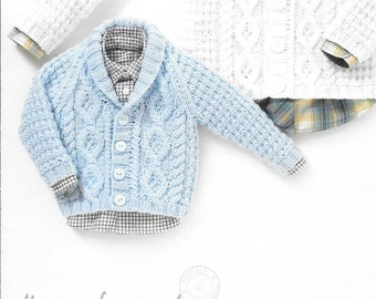 Knitting pattern. Hayfield baby aran 4503. v~neck cardigan and collared cardigan age birth to 7 yeaars