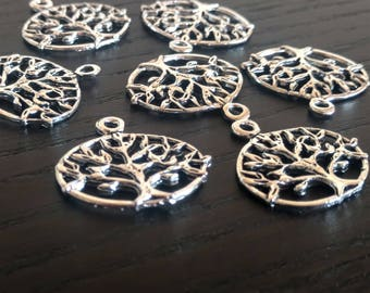 20 Tree of Life Charms | Silver Tree Charms | Tree of Life Pendant | Double Sided Charm | Bangle Charm | Ready to Ship from USA | AS355-20