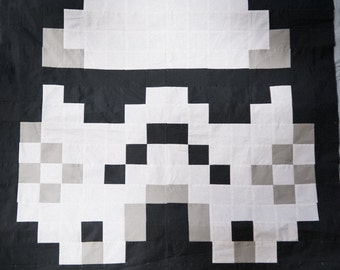 Pixelated Trooper Throw Quilt
