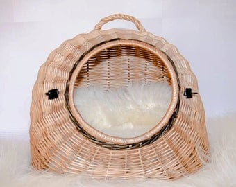 Wicker Cat Basket, Willow Basket for Cats and Small Dogs,Pet Basket, Handmade.