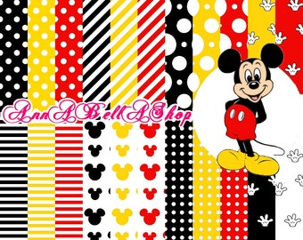 80% OFF SALE Mickey Mouse 1 - mickey mouse party, digital paper, scrapbooking papers, wallpaper, mickey background, mickey birthday