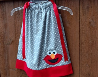 Elmo Birthday Outfit // Elmo Pillowcase Dress // Toddler Clothes // Infant Clothes // Grey with White Dots