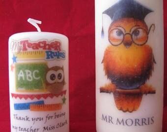 Personalised Owl Teacher Candle, Teacher Gift Teacher Owl, Owl Candle, 2 sizes available, add your own text, Teacher Present, Teacher Candle