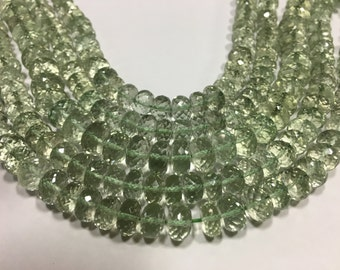 Green amethyst rondelle beads , 10 inch strand , 7-9MM ,pack of 2 strings