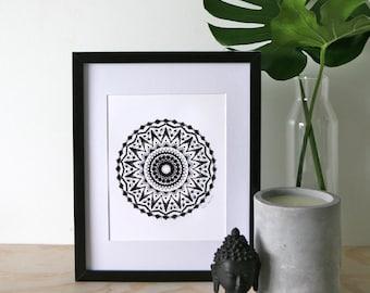 Happiness A4 Mandala Print, A4 Black and White Print, Meditation Tool, Mandala Art Print, A4 Mandala Print