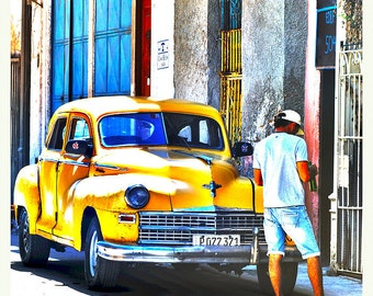 Yellow Car in Havana Limited Edition Screen Print from his Cuban Collection by Robin Ross