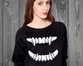 Fangs Unisex Sweatshirt, goth sweatshirt, pastel goth sweatshirt