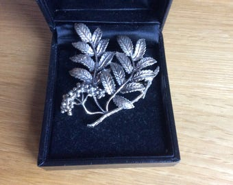 Large Brooch by Exquisite Rowan Mountain Ash leaf and berry silver tone brooch