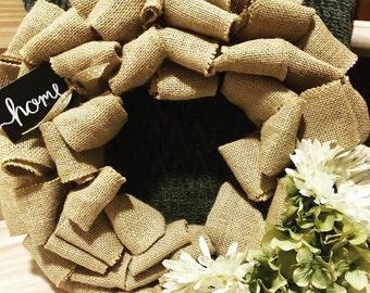 Home Burlap Wreath