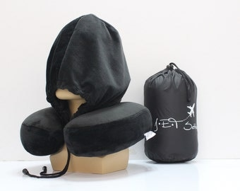 Black JET Setter  Memory Foam Neck Pillow with a hoodie.