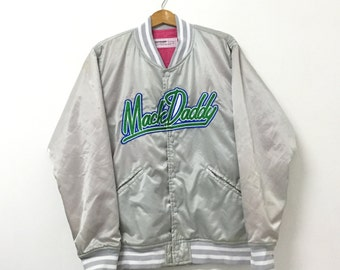 MackDaddy Varsity Jacket Ambroidery Big Spell Out Mens Clothing