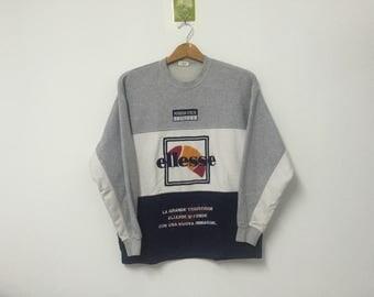 Sale!! Sale!! Vintage Ellesse Sweatshirt Big Logo Embroidery Multicolour Rare
