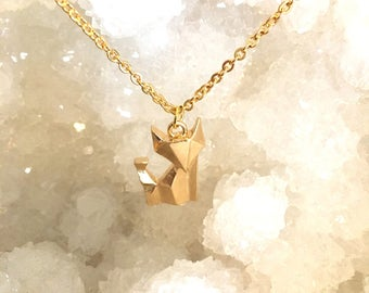 Gold fox origami style charm necklace