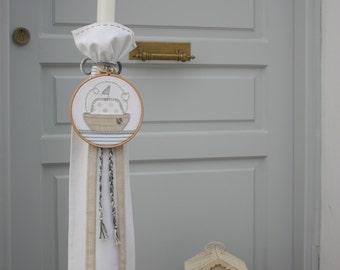 Baptism/Christening Candle/Lambada/Baptism Lambatha/Hoop Boat Candle/Greek Orthodox Baptism