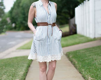 STRIPES & LACE DRESS
