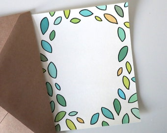 Colourful Leaves Template- Custom Lettering Card | Greeting Card | Birthday Card | Thank You Card | Calligraphy