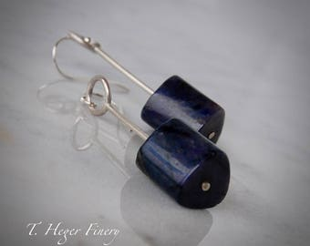 Navy Blue Sodalite and Sterling Silver Earrings