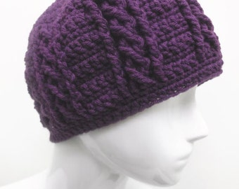 Purple or Amethyst Braided Crochet Hat or Beanie for Women, Perfect for this Winter Time